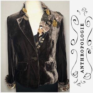 Anthropologie luxe velvet jacket with floral pop